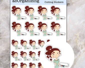Aria Cutting Stickers // Red hair Girl Character Stickers // Character Sticker Sheet // Silhouette Portrait Girl Sticker