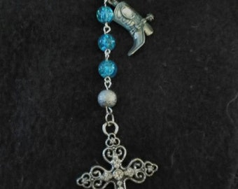 Crystal sparkly blue beaded Rosary with boot charm.