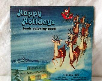 1978 Happy Holidays Bank mini Coloring Book.