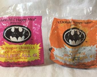 1991 Batman Happy Meal toys, Batman and Penguin toy. NIP.