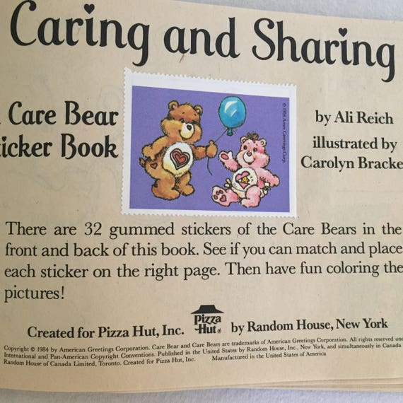 Pizza Hut Exclusives 2 Vintage 1984 CARE BEAR Coloring//Sticker Books
