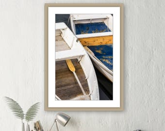 Blue Boat - Rowboat Photo on Canvas - Nautical Boat Photography - Metal Print - Beach Cottage Decor - Dory Skiff Print - Wall Art - White