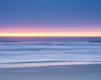 Abstract Coastal Art - Abstract Beach Wall Art - Peaceful Water Photo - Minimalist Decor - Nautical Ocean Decor - Blue Purple Yellow Print