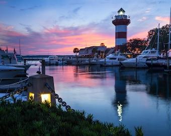 Harbour Town Lighthouse Print  - Hilton Head Island Photo - Lighthouse Photography - Large Wall Art - Nautical Decor - Sea Pines Sunset