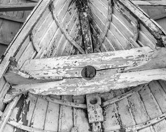 Black & White Boat Print - Weathered Rowboat Print - Nautical Photography - Boat Canvas Wall Art - Boat Decor - Metal Print - Dory Skiff