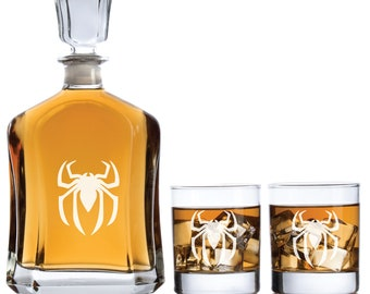 Personalized Spiderman with Optional Whiskey Glasses, Decanter & Whiskey Glasses Barware Decanter Superhero Theme Gifts, Man Cave Gifts