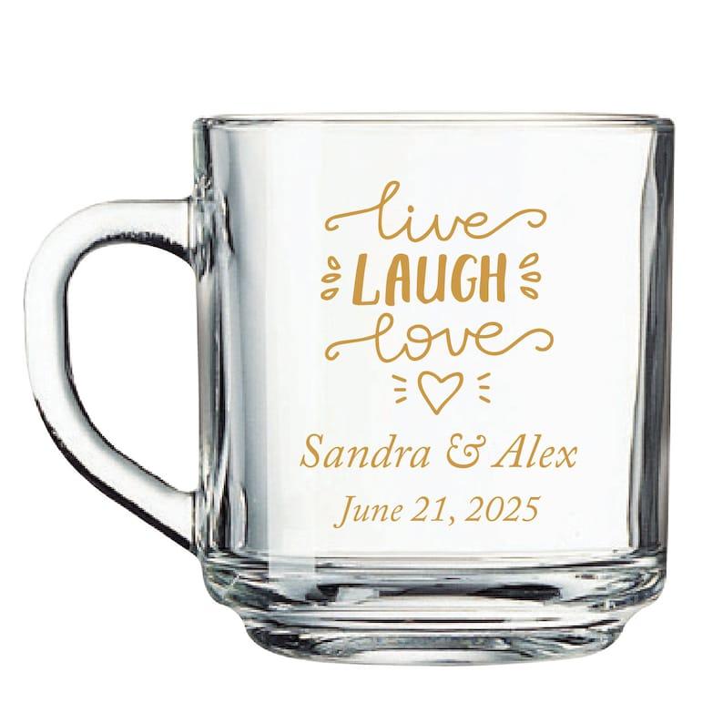 24pcs Personalized Handy Glass Coffee Mugs 53337-EDPP219K Live Laugh Love Motif
