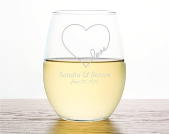 60pcs - Personalized Stemless Wine Glass 9oz - Heart Love Design - Wedding Favors - Party Favor Gift Ideas - ST9OZ-EDPP255C