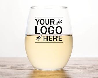 24pcs - Add Your Logo or Custom Design - Custom Design Stemless Wine Glass 15oz - Add you Corporate Logo Here, Custom Promotional Products