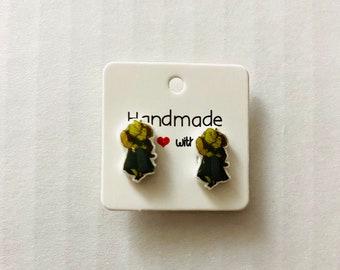 Shrek stud earrings