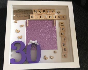 30th Birthday Personalised Frame Scrabble Tiles 21st 18th Her Hand Painted Gift