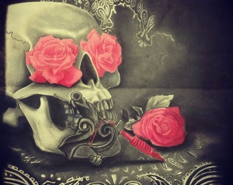 Machine de tatouage tête de mort et Roses fusain dessin