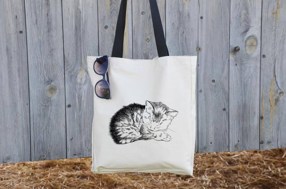 6e1edf1114f6 Sleeping Cat Tote, shoulder bag, cat love, cute cat bag, vegan bag, animal  lover, cat lady bag, cat lover gift, kitty bag, Cotton Handbag