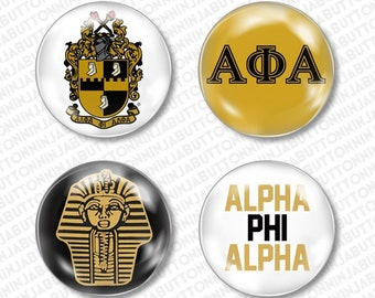 5e955c2658ed ALPHA PHI ALPHA pins (set of 4 mini badge buttons, magnets, tokens or  flatback) apa fraternity college university divine nine hbcu