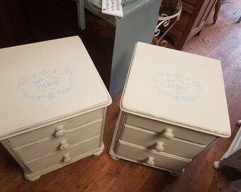 Shabby chic solid bedside drawers/tables. French style & distressed