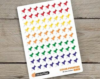 80 COLOR PUSHPINS stickers, clear stickers, planner stickers, transparent stickers, Happy Planner, Erin Condren, Filofax (SPC-046)