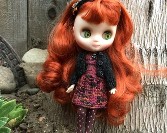 Middie Blythe knit outfit, 4 piece doll wardrobe, 8 inch doll clothes