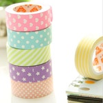 Cute Pastel Paper Washi Tape- Polka dot, Stripes, Hearts, Stars  Stationery Masking Deco Tape