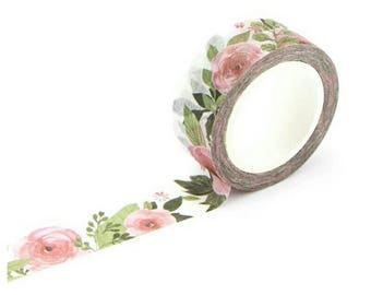 Peonies Peony Washi Tape, Pink, Green, Flowers, Leaves Stationery Masking Deco Tape