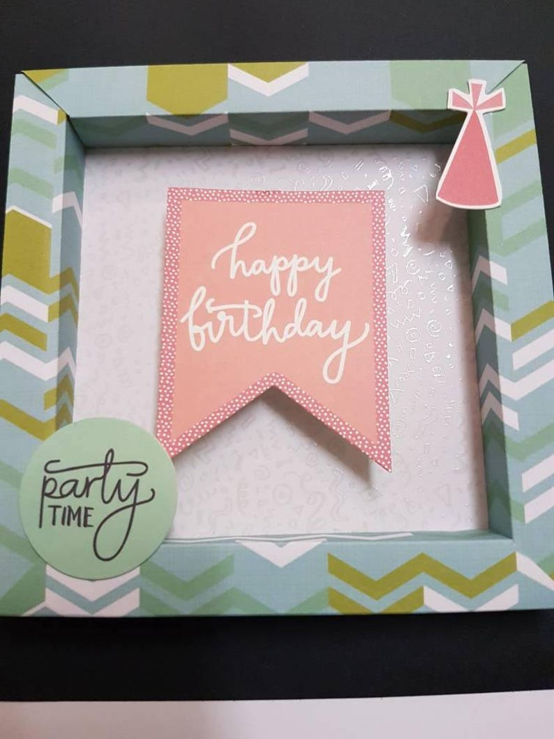 Shadow Box birthday card Happy Birthday