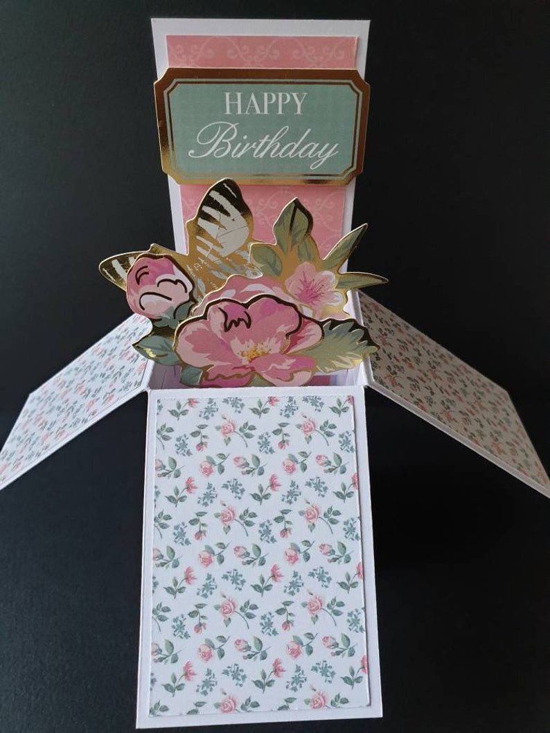 Happy Birthday with gold trim flowers pop-up card