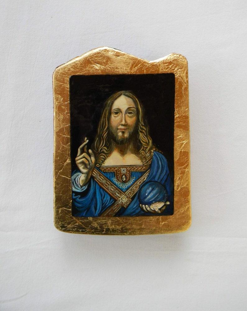 after Leonardo da Vinci - Salvator Mundi, hand painted copy