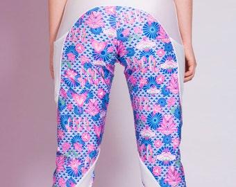 SALE! Blossom Track Pants, Flower Pants, Printed Pants, Drop Crotch, festival leggings, festival outfit, Casual Yoga Boho leggings