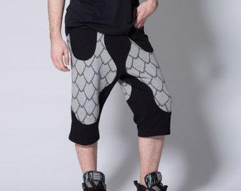 SALE NOW ON Scale Shorts - Designer Shorts, detailed shorts scale print limited edition shorts, festival fashion, alternative fashion
