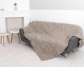 Grey throw blanket, Wool bedspread, Sofa throw cover, Handmade wool blanket, Wool throw, Warm wool blanket, Wool throw blanket, Sofa throw
