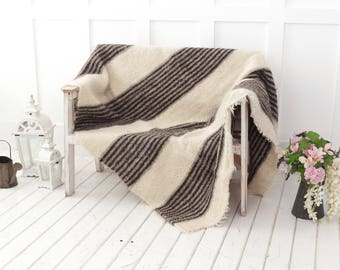 Hand Woven Wool Throw Blanket, Daybed Cover, Striped Throw Blanket, Sofa  Throw, Scandinavian Blanket, Natural Home Decor Queen Size Blanket