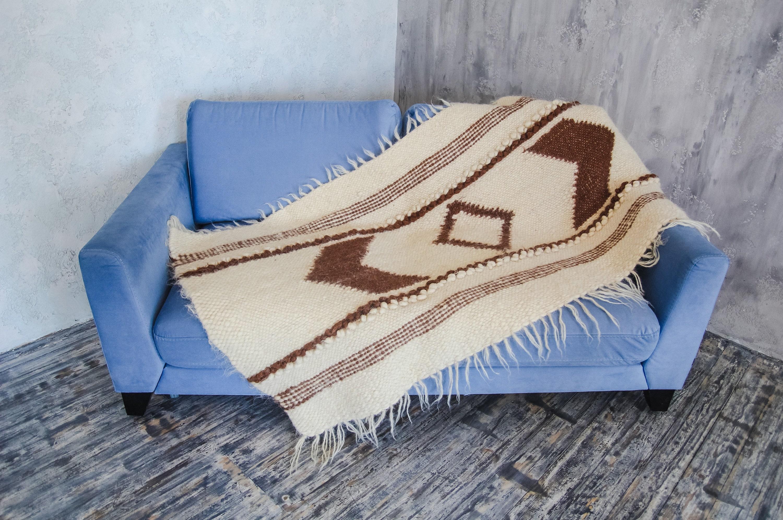 White Wool Throw Blanket Warm Scandinavian Home Decor Anniversary Wedding Gift