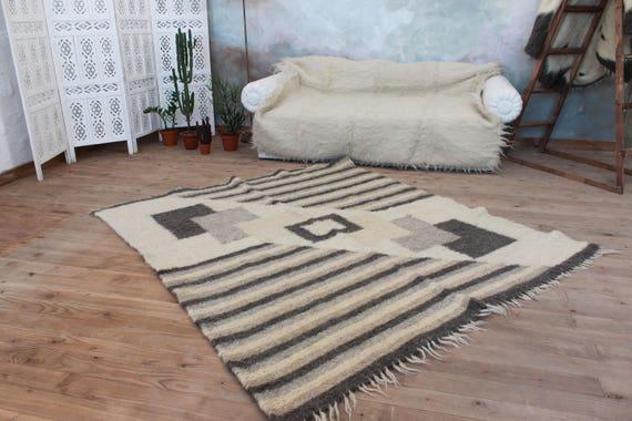 Teppich Grau Geometrische Muster Moderne Handgemachte Etsy