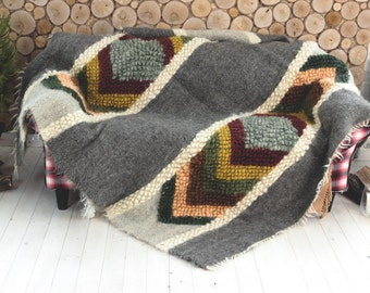Dark gray wool throw blanket, Queen size, Colorful  bedspread, Winter coverlet, Hand woven blankets, Plaid throw blanket, Rustic Home decor