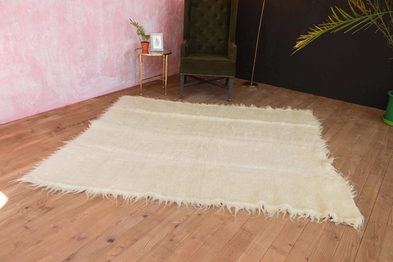 Tapis Blanc Doux : jeter blanc doux moelleux zone tapis de laine tiss la etsy ~ Nature-et-papiers.com Idées de Décoration