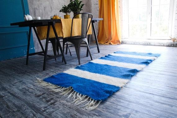 woven floor are rug blue nautical living room carpet rug small etsy. Black Bedroom Furniture Sets. Home Design Ideas