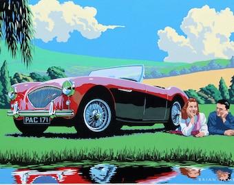 Austin Healey 100 1954. Classic car print.
