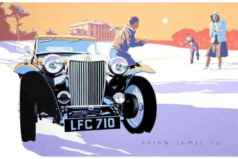 MG TC 1947 Winter Fun. Classic car print image 0