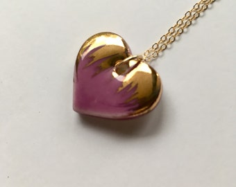 Ceramic heart, purple, mauve, lilac, gold lustre