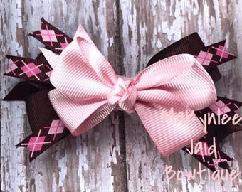 Pink and Brown Infant Hairbow|Infant Hairbow