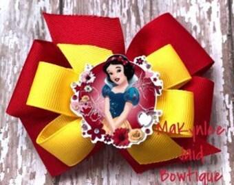 Snow White Pinwheel Hairbow| Snow White Bow