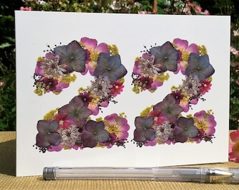 No 22 Flower Card 22nd Anniversary Birthday Sister Daughter English Pressed PRINT