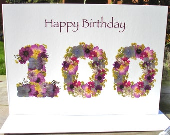 100th Birthday Card English Pressed Flower Print Mum Nan Granddad