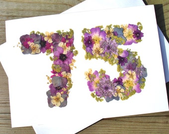 75th Birthday Card Flower For Gardeners English Pressed PRINT