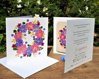 Gift For Gardeners English  Pressed Flower PRINT Mum Personalised Birthday Coaster Card