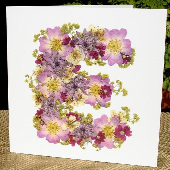 Buchstabe E Card Freundin Zum Geburtstag Floral Karte Etsy