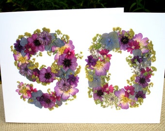 Personalised 90th Birthday Card, English Pressed Flower PRINT, 90th Birthday Card For Gardeners, Floral 90th Birthday Card