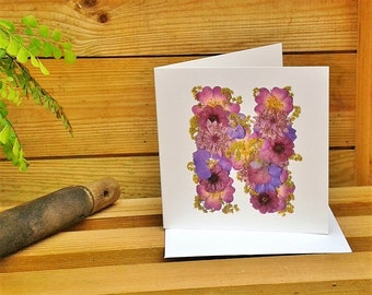 Alphabet Letter N, Birthday Card Friend, Get Well Card, Thank You Card, Thinking Of You Card, English Pressed Flower PRINT