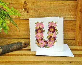 Letter U, Alphabet Card, Birthday Card Friend. Thank You Card, Get Well Card, Love You Card, English Pressed Flower PRINT