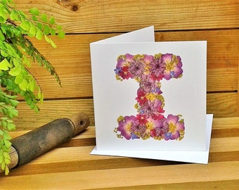 Letter I, Birthday Card Friend, Get Well Card, Floral Card, Thank You Card, Blank Card, English Pressed Flower PRINT