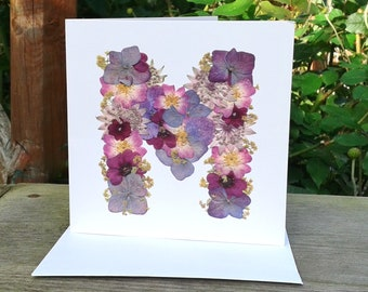 Letter M, Birthday Card, Blank Card, Get Well Card, Mum Birthday Card, Thank You Card, Nan Birthday Card, English Pressed Flower PRINT